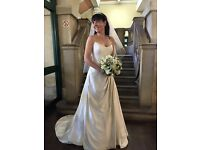 Suzanne Neville Size 10 Silk Wedding Dress, only worn for 3hours, dry cleaned, brooches included