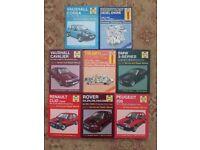 Haynes Car Manual Job Lot - Peugeot/BMW/Triumph/Vauxhall/Rover/Renault x 8 Books