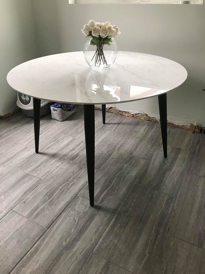 Marble Effect Round 4 Seater Dining Table In Southampton Hampshire Gumtree