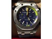 Audemars Piguet A blue Royal Oak Offshore chronograph with a splash of yellow,