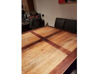 Large Square Wooden Dining Table Seats 8 - 140cm x 140cm - Ex-Archibalds