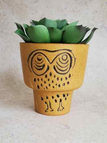 Obscure Vtg Mid Century MCM David Gil Bennington Pottery Vermont Owl Planter Pot