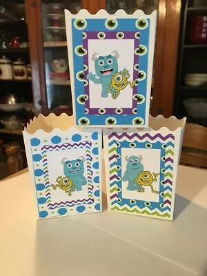 6 Monsters Inc Baby Party Favor Popcorn Boxes - Baby Monster Inc