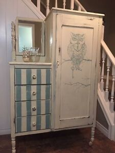 Antique Hand Painted Butler's Wardrobe