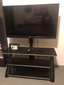 "48"" LCD RCA tv and glass stand"
