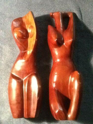 pair of Mid-Century Modern Abstract Female Nude Wood Sculpture dense-heavy teak?