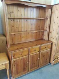 Large pine dresser with 3 drawers and 2 shelves