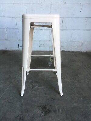 SCRATCHED RUSTY DAMAGED TOLIX STYLE VINTAGE CREAM METAL BAR STOOL KITCHEN SEAT