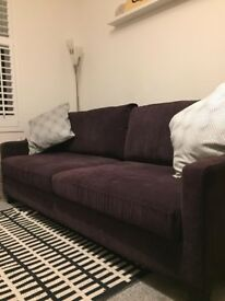 # SOLD # Bespoke Dark purple 2-3 seater sofa in excellent condition