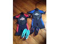 Kids wetsuits plus shoes