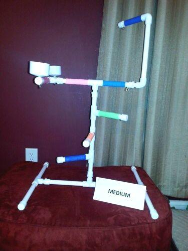 "NEW Medium 1/2"" PVC Parrot Perch Play Gym Stand  Birds Love Them!"