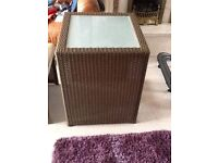 Brown wicker square table and 2 chairs