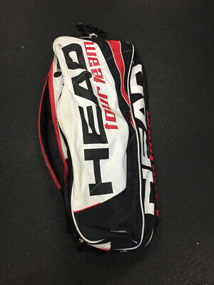 "Head Tour Team White/Red/Black Size Dimensions 29"" x 12"" Used Tennis Racquet Bag"