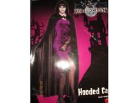 LONG BLACK HOODED CAPE/ CLOAK NEW GREAT FOR A HALLOWEEN PARTY