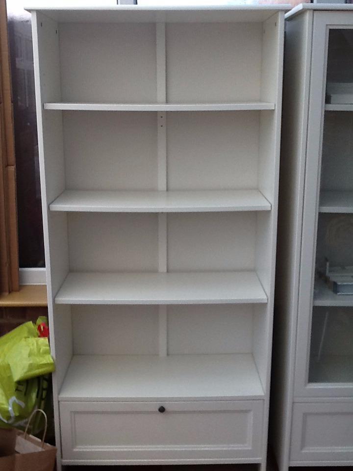 White Ikea Bookcase Shelving Unit With Bottom Drawer