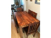 Indian Dark Wood Table & 6 Chairs