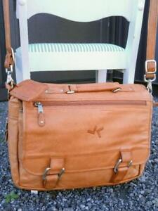 Large Leather Bag Satchel Camel Brown Unisex Cross-body Messenger Laptop Briefcase School Mens Womens Child Whiskey Soft