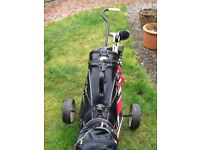 Golf set including bag and trolley
