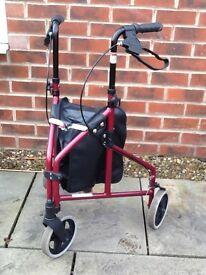 3 Wheeled rollator walking aid