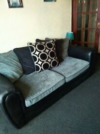 3 seater, 1 seater and foot stool
