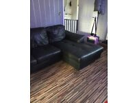 Ikea heavy duty real leather corner sofa and chair