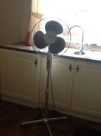 Silver oscillating pedestal fan