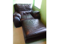 VIOLION high quality set of leather furniture: 2/3 seat sofa+armchair+footstool.