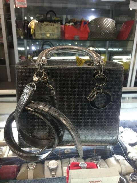 b6a9a9f7e699 Christian Dior Medium Metallic Silver Lady Dior Authentic Handbag ...