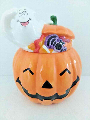Halloween Pumpkin Jack O' Lantern Ghost Cookie Jar RARE