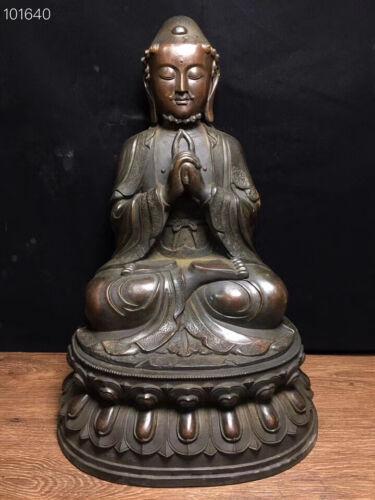 """19"""" Old Tibetan Buddhism Bronze Sakyamuni mahavairocana Vairochana Buddha Statue"""