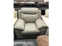 Grey leather DFS Electric Recliner Armchair