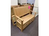 OAK HALL BENCH WITH DRAWERS ( NEW ) for sale  Telford, Shropshire