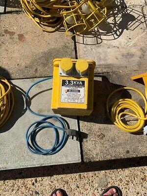110v transformer, 2x festoon 10 light 1 new, extension lead, 4 way splitter new