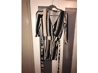 Striped belted boohoo playsuit size 8