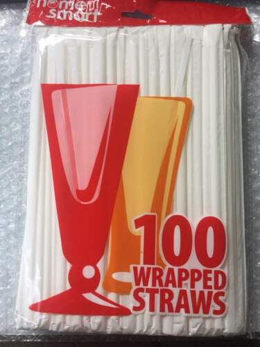 Clear Plastic Straws 100 Pack Individually Wrapped Disposable Straws