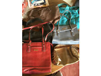 six ladies handbags all in vgc no rips various colours also one leather satchel-laptop bag