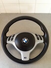 BMW e46 M-Sport full silver multifunction leather steering wheel