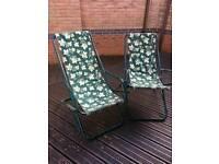 £2 pair of steel garden deck chairs