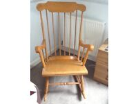 Pine rocking chair with spindle back