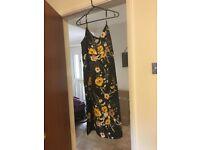 M&S dress, size 16, black floral.