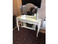 White Dressing Drawer Table with Vintage Mirror for sale