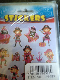 10 x pink pirate party sticker sheets