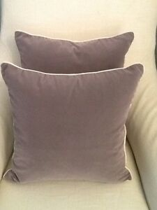 2 x  'MADRAS LINK' GREY VELVET / LINEN SCATTER CUSHIONS - NEW The Vines Swan Area Preview