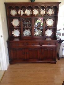 Old Charm Tudor Brown Sideboard with Dresser Top