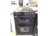 NEARLY NEW SWAN SX2021B 50CM WIDE CERAMIC TWIN CAVITY FREESTANDING ELECTRIC COOKER IN BLACK RRP £329