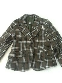 GIRLS TWEED/CHECK STYLE BLAZER JACKET AGE 3/4 EXCELLENT CONDITION