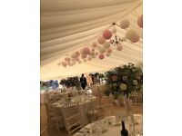 Complete Wedding Paper Hanging Lantern Package - Pink and White Wedding Decorations