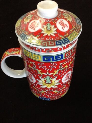 Chinese Porcelain Tea Cup Handled Infuser Strainer with Lid 10oz Wow Red Cup