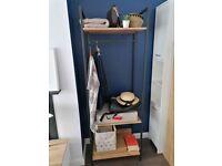 Industrial style metal wood open wardrobe shelves storage unit cabinet