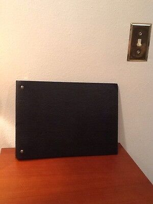 Executive Business Check Holder 3 To A Page Binder Book Black Faux Leather Euc